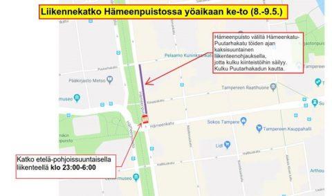 Hämeenpuistossa liikennemuutoksia 8.-9.5. yöaikaan