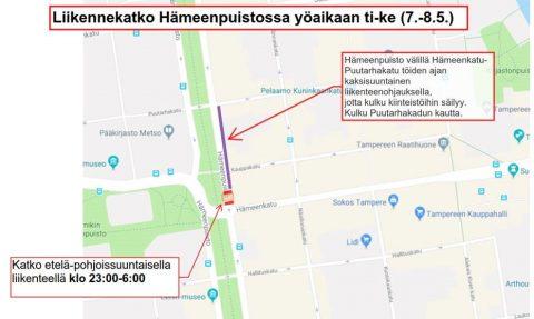 Hämeenpuistossa liikennemuutoksia 7.-8.5. yöaikaan