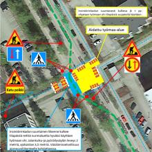 Liikennejarjestelyt Insinöörinkadun eteläpään poikitustöissä tehdään aina kunkin työalueen kohdalla kuvan mukaisesti