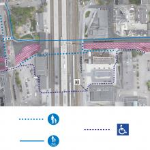 Raitiotietyöt muuttavat jalankulkureittejä Hämeenkadun ja Rautatienkadun liittymässä