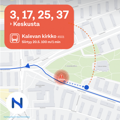Sammonkadun bussipysäkki siirtyy noin 100 metriä 20.5.