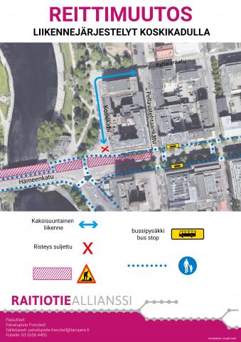 Koskikadun liittymä suljetaan 15.5. ja Hatanpään valtatien liittymän suojateihin muutoksia