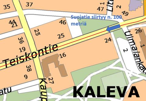 Teiskontien ja Ilmarinkadun liittymäalueella sijaitseva suojatie siirtyy 1.7.