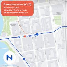 Busspipysäkkimuutos Hämeenkadun itäpäässä 7.8.