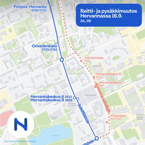 Bussilinja 3 siirtyy takaisin Insinöörinkadulle 16.9.