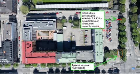 Kalevan puistotiellä kiertoreitti torstaina 5.9.