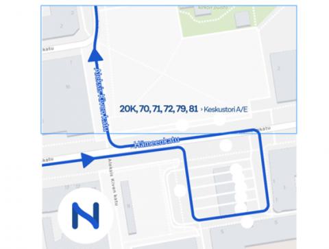Lännestä tuleville bussilinjoille kiertoreitti 4.-15.11.