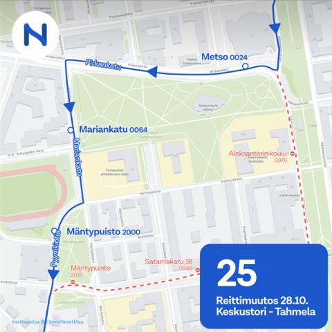 Bussilinja 25 palaa Mariankadulle 28.10.