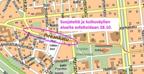 Suojatiealueita ja kulkuväyliä asfaltoidaan 28.10.