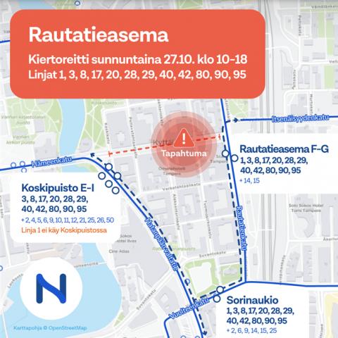 Hämeenkadun itäpään korttelijuhla muuttaa bussireittejä 27.10.