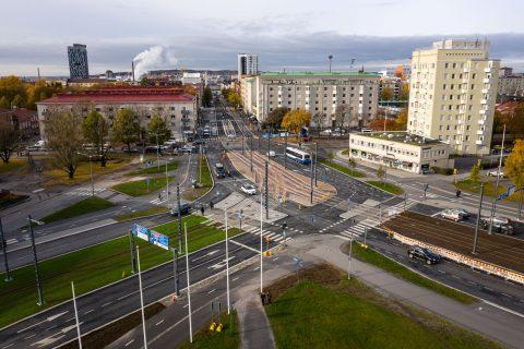 Sammonaukion raitiotien ja kadun rakentaminen on valmistunut