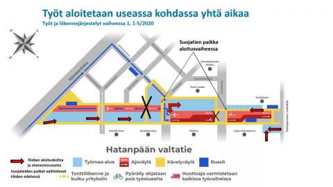 Raitiotietyöt Hatanpään valtatiellä toteutetaan neljässä päävaiheessa