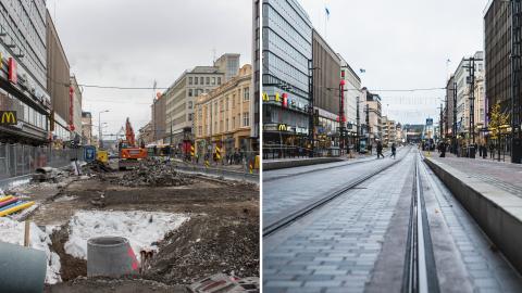 Hämeenkatu on vuodessa palannut työmaasta kaduksi - Uusi Hämeenkatu valmistuu korttelipuoli kerrallaan