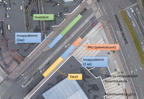 Taksien ja invapysäköinnin paikat Koskikadun vieressä Suvantokadulla