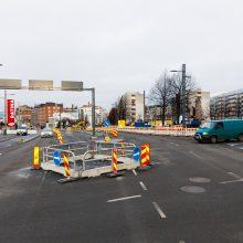 Vuolteenkadun ja Hatanpään valtatien risteyksessä kiertoliittymä sujuvoittaa liikennettä töiden aikana