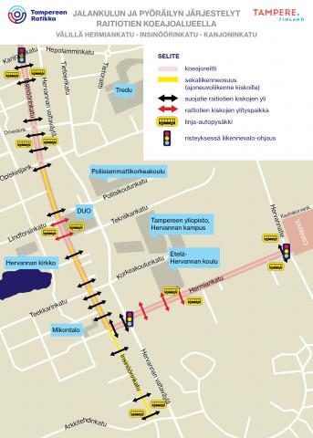 Jalankulun ja pyöräilyn järjestelyt Hervannassa