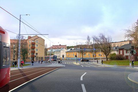 Havainnekuva Sepänkadun raitiotiestä kuva: Tampereen kaupunki