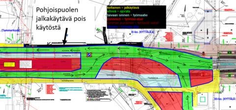 Hämeensillan pohjoispuolen jalkakäytävä on pois käytöstä muutaman viikon ajan