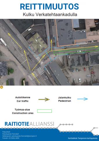 Liikennejärjestelyt Verkatehtaankadulla viikoilla 18 ja 19