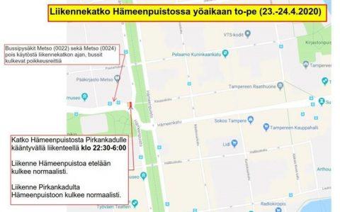 Liikennekatko Hämeenpuistossa yöllä 23.-24.4.