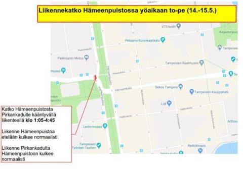 Liikennekatko Hämeenpuistossa yöllä 14.-15.5.