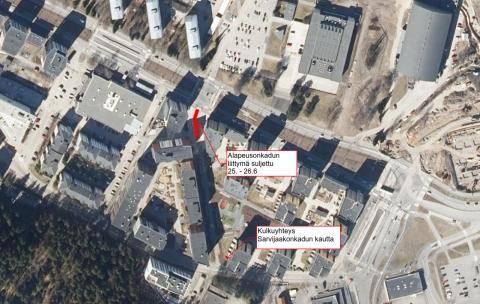 Kulkumuutoksia Alapeusonkadulla 25.-26.6. Kuvasssa osoitettu karttapohjalla kulkuyhteys Sarvijaakonkadun kautta.