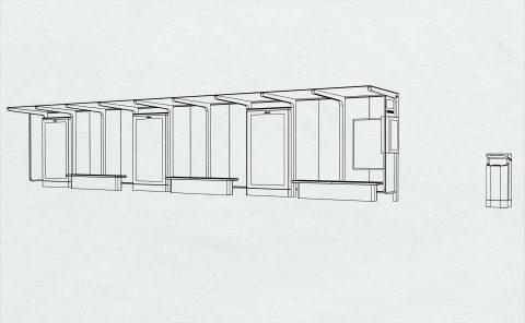 Piirroskuva kolmimoduulisesta reunalaituripysäkistä. Kuva: Idis Design