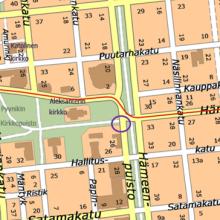 Hämeenpuistossa suojatien liikennevalot pois käytöstä toistaiseksi