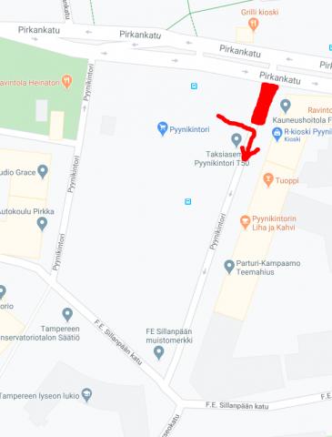 Kartta kääntymisestä torialueelta kadulle Pyynikintori.