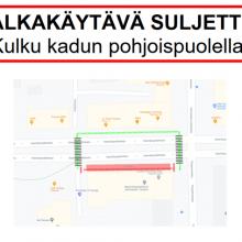 Itsenäisyydenkadulla Attilan kiinteistön tukimuuritöistä kulkumuutoksia – kadun ylitys ainostaan suojateiden kautta