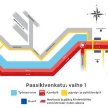 Kulkureitti- ja ajokaistamuutoksia Rantatiellä, Paasikivenkadulla ja Sepänkadulla 24.11.