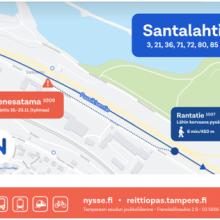 Bussipysäkkimuutos Rantatiellä 16.-23.11. raitiotietöiden vuoksi