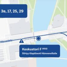 Bussipysäkki Keskustori F siirtyy Hämeensillalle