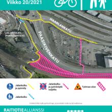 Viikolla 20 muutos jalankulku- ja pyöräilyreitteihin Paasikivenkadulla