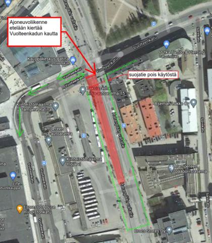 Kartta liikenteen ohjaamisesta Vuolteenkadulle.