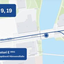 Keskustorilla bussipysäkkimuutos 16.6. alkaen juhannukseen saakka