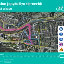 Paasikivenkadulta Haarlankadulle kääntyvä autokaista sekä osa uutta jalankulku- ja pyöräilyväylää käyttöön