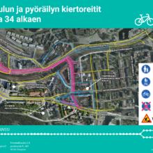 Bussipysäkki pois käytöstä Paasikivenkadulla, jalankulku- ja pyöräilyreitteihin muutoksia