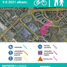 Sellupuiston painopengertyömaasta liikennejärjestelyjä – koululaisten reitit alueella