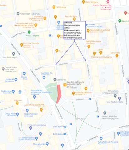 Kartta yötöiden alueesta Aleksanterinkadulla.