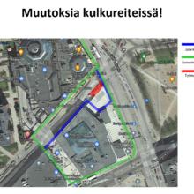 Suvantokadulla ja Hatanpään valtatiellä kulkureittimuutoksia 1.10.