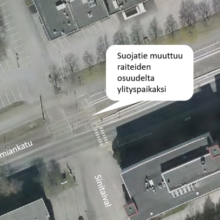 Suojatie Hermiankadulla palautuu raitiotien osuudelta ylityspaikaksi 18.10.