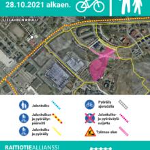Federleynkadun jalankulku- ja pyöräilyväylää palautetaan käyttöön – Sellupuiston painopenger valmistumassa