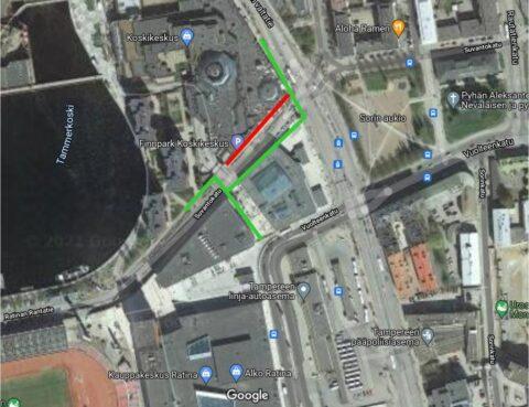 Suvantokadun länsipuolella jalankulku ohjataan kadun eteläpuolta pitkin.